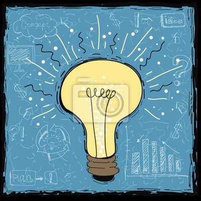 Light bulb idea concept template.Network process diagram  idea