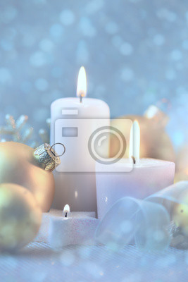 Wall mural Light Christmas Decorations with Candles, baubles and magic