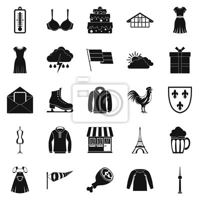 Wall mural Lightweight clothing icons set. Simple set of 25 lightweight clothing vector icons for web isolated on white background