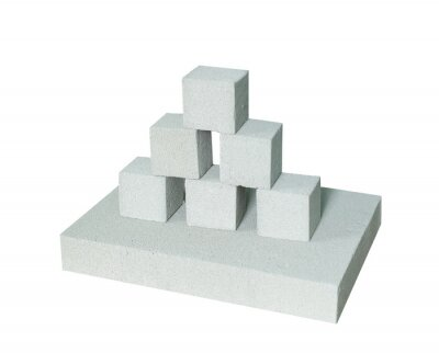 Wall mural Lightweight construction brick isolated on white. Lightweight foamed gypsum block isolated on white.
