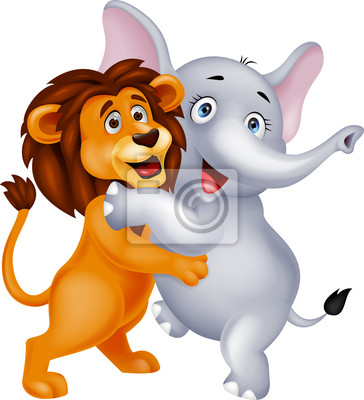Lion and elephant embracing each other