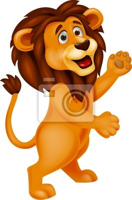 Lion cartoon waving