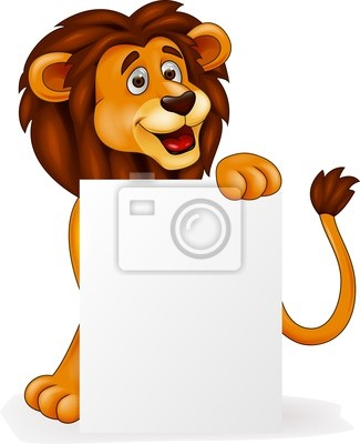 Wall mural Lion cartoon with blank sign