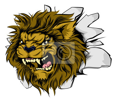 Lion mascot attacking through wall
