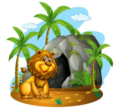 Wall mural Lion sits in front of cave