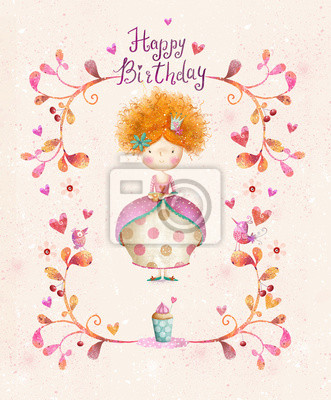 Little Princess.Birthday greeting card.Party invitation.