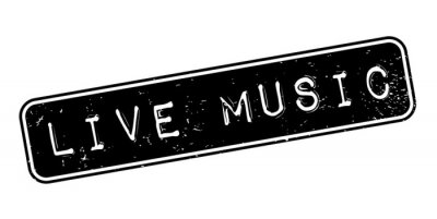 Wall mural Live Music rubber stamp. Grunge design with dust scratches. Effects can be easily removed for a clean, crisp look. Color is easily changed.
