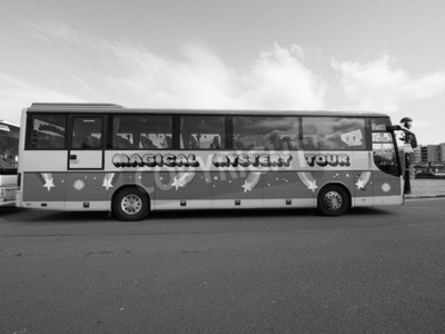 Wall mural LIVERPOOL, UK - CIRCA JUNE 2016: The Beatles Magical Mystery Tour bus in black and white