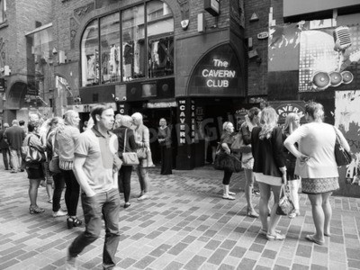 Wall mural LIVERPOOL, UK - CIRCA JUNE 2016: The Cavern Club nightclub at 10 Mathew Street where The Beatles played in black and white