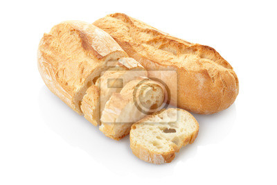 Wall mural Loaf of bread isolated on white, clipping path included