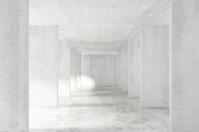 Wall mural Loft style tunnel with many walls in light empty building