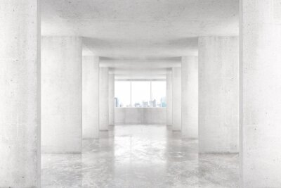 Wall mural Loft style tunnel with many walls in light empty building with b
