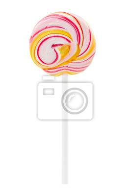 Wall mural Lollipop swirl on stick isolated on white