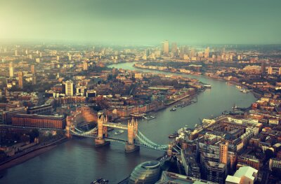 Wall mural London aerial view with  Tower Bridge in sunset time