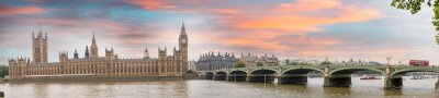 Wall mural London at dusk. Autumn sunset over Westminster Bridge