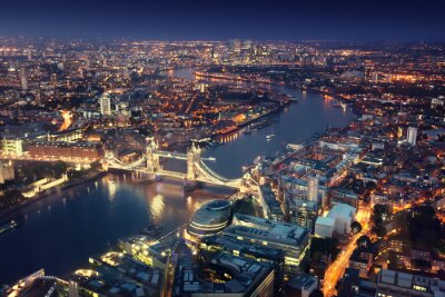 Wall mural London at night with urban architectures and Tower Bridge