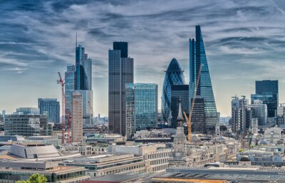 Wall mural London City. Modern skyline of business district
