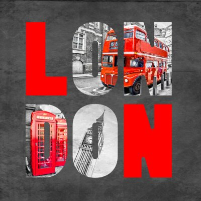 Wall mural London letters with images on  black background