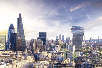 Wall mural London sunset, view on business modern district