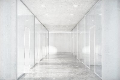 Wall mural Long corridor with concrete floor and transparent walls in moder