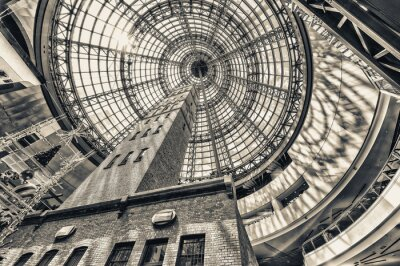 Wall mural Looking up beside shot tower at the domed roof of Melbourne cent