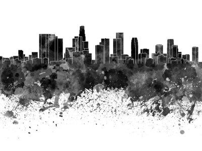 Wall mural Los Angeles skyline in black watercolor on white background