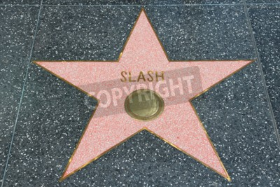 Wall mural LOS ANGELES, USA - APRIL 5, 2014: Slash (Guns N' Roses guitarist) star at famous Walk of Fame in Hollywood. Hollywood Walk of Fame features more than 2,500 stars with inscribed celebrity names.