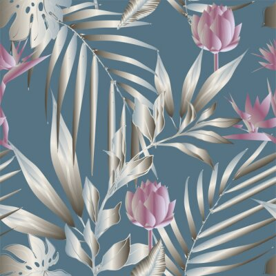 Wall mural Lotus flowers surrounded by palm leaves seamless pattern. Vector illustration with tropical plants.
