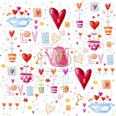 Wall mural Love background made of red hearts, flowers.