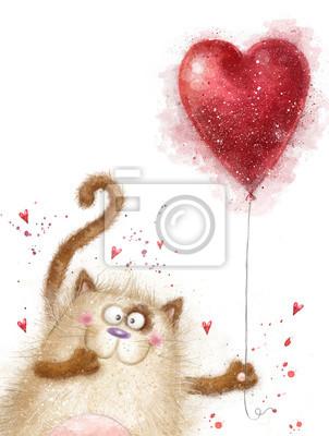 Love. Cute cat with red heart.Cat in love