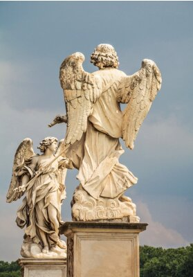 Lovely Antique Marble Angels Sant Angelo Bridge in Rome
