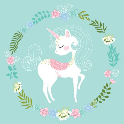 Wall mural Lovely unicorn vector illustration for kids fashion artworks, children books, prints, greeting cards, t shirts, wallpapers.