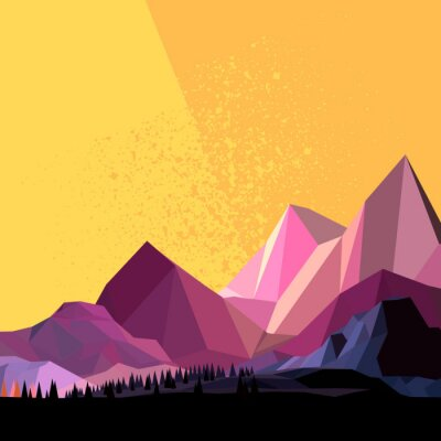 Wall mural Low Poly Vector Mountain