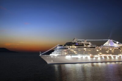 Wall mural Luxury cruise ship sailing to port on sunrise