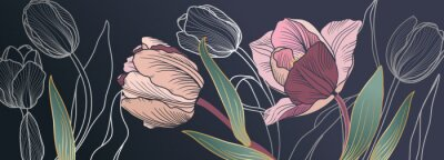 Wall mural Luxury pink tulips background vector with golden metallic decorate wall art