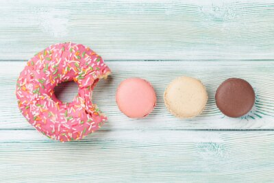Wall mural Macaroons and colorful donut