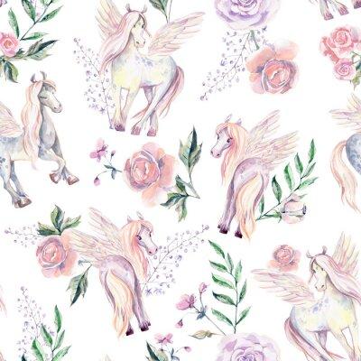 Wall mural Magic Pegasuses in seamless pattern. Watercolor illustration, be