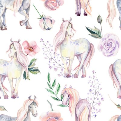 Wall mural Magic Pony seamless pattern. Watercolor illustration, beautiful