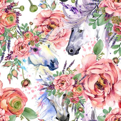 Wall mural magic unicorn watercolor pattern. roses flowers seamless background