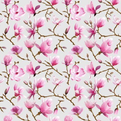 Wall mural Magnolia Flowers Background - Vintage Seamless Pattern