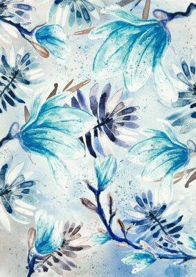 Wall mural Magnolia flowers watercolor pattern, blue