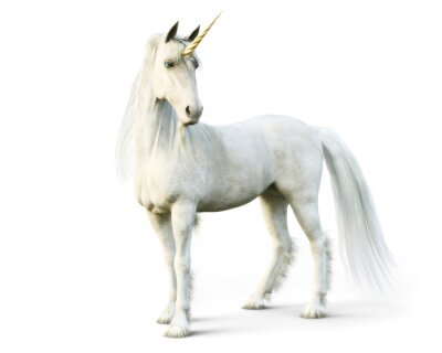 Wall mural Majestic unicorn posing on a white isolated background. 3d rendering