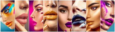 Wall mural Makeup collage. Beauty makeup artist ideas. Colorful lips, eyes, eyeshadows and nail art