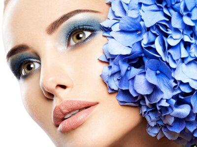 Wall mural Makeup Face Flower Blue Woman Fashion