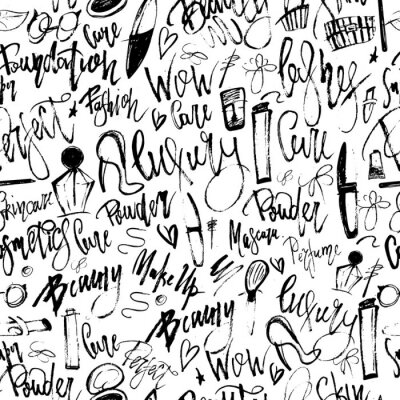 Wall mural Makeup grunge seamless pattern with beauty items and freehand lettering for your promotion.