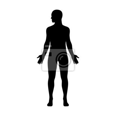 Wall mural Male human body with head turned to side flat icon for apps and websites