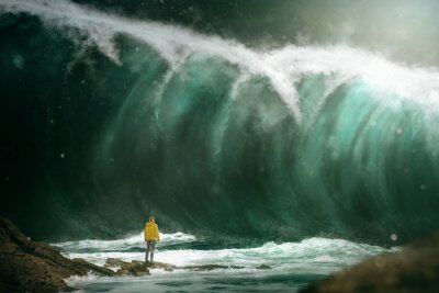 Wall mural Man in front of a tsunami