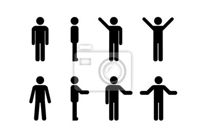 Wall mural Man standing set, stick figure human. Vector illustration, pictogram of different human poses on white