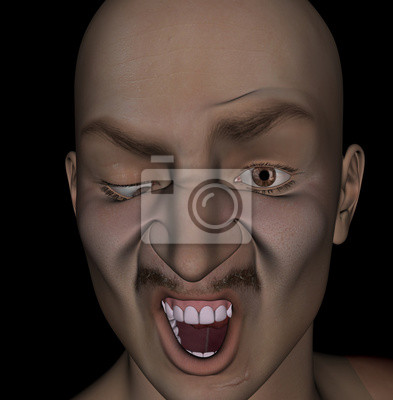 man with a deformed face