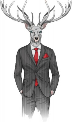 Wall mural man with deer's head dressed in a suit